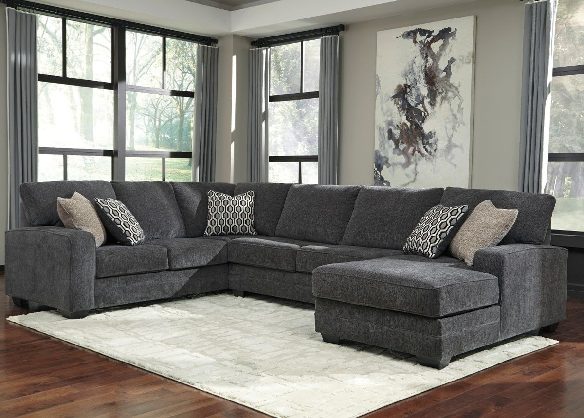 Ashley Furniture Tracling 3 Piece Sectional With Raf Chaise In Slate Regarding Sierra Foam Ii 3 Piece Sectionals (Image 12 of 25)