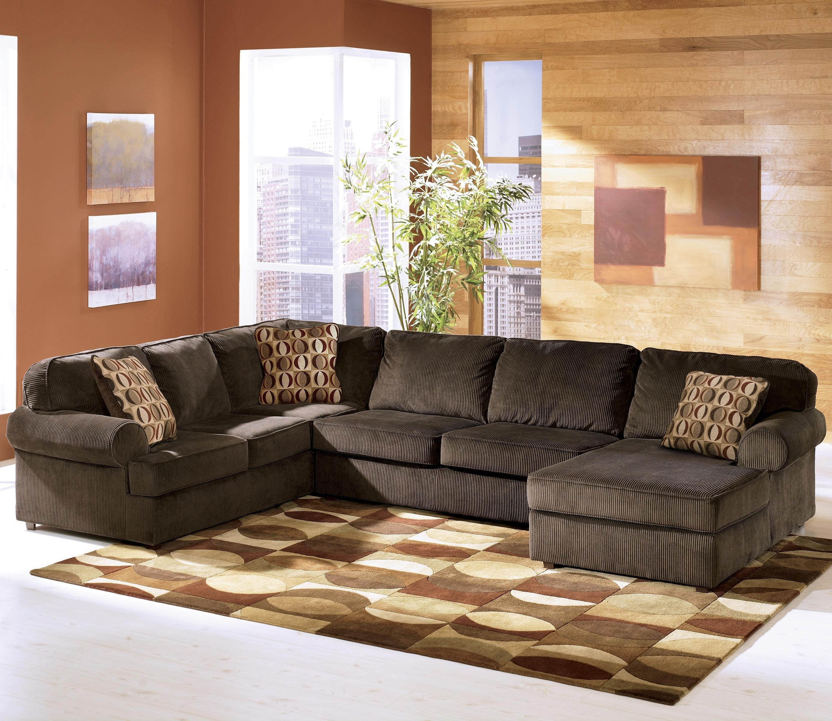 Ashley Furniture Vista – Chocolate Casual 3 Piece Sectional With Pertaining To Lucy Dark Grey 2 Piece Sleeper Sectionals With Raf Chaise (Image 3 of 25)