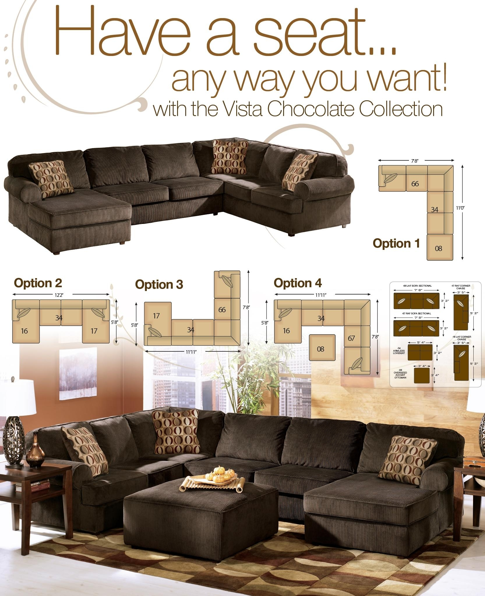 Ashley Furniture Vista Chocolate Piece Sectional With Right In Sierra Down 3 Piece Sectionals With Laf Chaise (View 24 of 25)