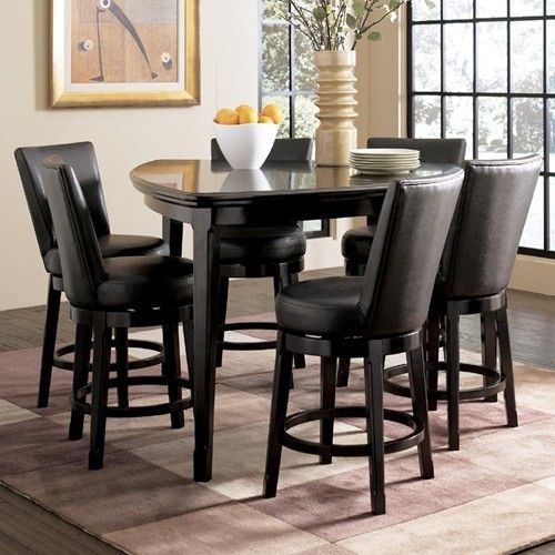 Ashley Millennium Emory 7 Piece Triangle Pub Table Set With 6 Within Jaxon 5 Piece Extension Counter Sets With Fabric Stools (View 5 of 25)
