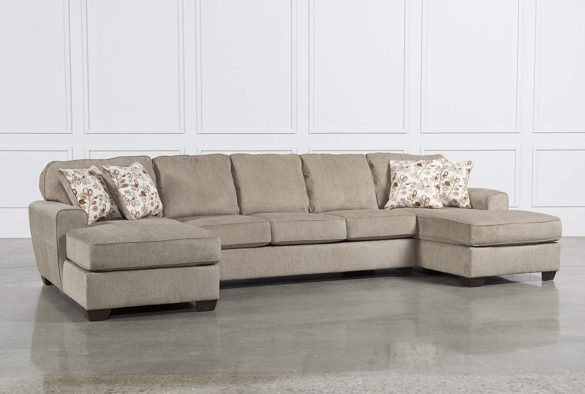 Ashley Patola Park 3 Piece Sectional W/2 Corner Chaises, Brown With Malbry Point 3 Piece Sectionals With Laf Chaise (Image 11 of 25)