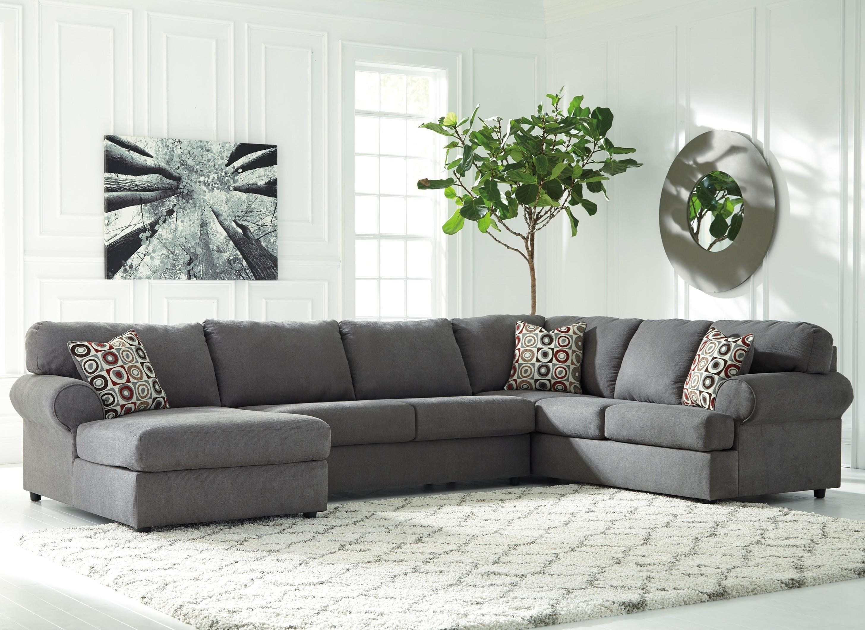 Ashley (Signature Design) Jayceon 3 Piece Sectional With Left Chaise Throughout Cosmos Grey 2 Piece Sectionals With Laf Chaise (Image 2 of 25)