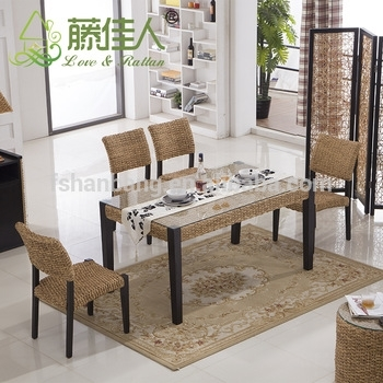 Asian Vietnam Luxury Classic Home Hotel Water Hyacinth Natural Within Bali Dining Sets (View 13 of 25)
