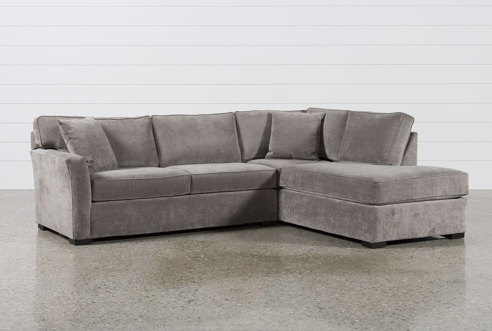 Aspen 2 Piece Sectional W/raf Chaise, Grey, Sofas | Upholstery, Full With Regard To Taren Reversible Sofa/chaise Sleeper Sectionals With Storage Ottoman (Image 3 of 25)