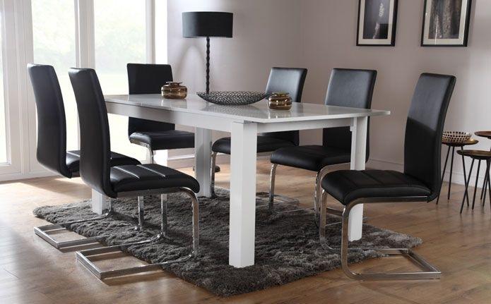 Aspen & Perth White Extending Dining Set (Black) | Dining Room Intended For Perth White Dining Chairs (Image 5 of 25)