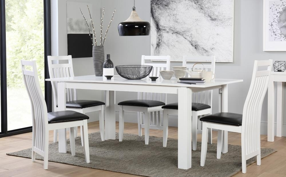 Aspen White Extending Dining Table And 6 Chairs Set (Java) Only In Extended Dining Tables And Chairs (Image 3 of 25)