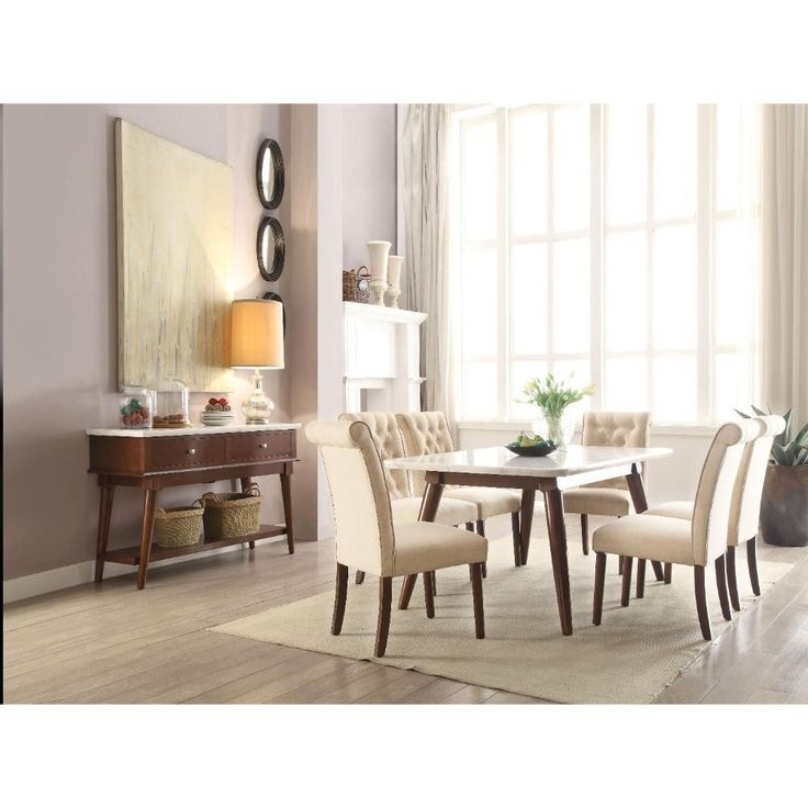 Astonishing Dining Table, White Marble & Walnut Brownacme In Intended For Kirsten 6 Piece Dining Sets (Image 6 of 25)