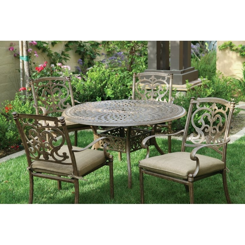 Astoria Grand Palazzo Sasso 5 Piece Metal Frame Dining Set With Throughout Palazzo Rectangle Dining Tables (Image 2 of 25)