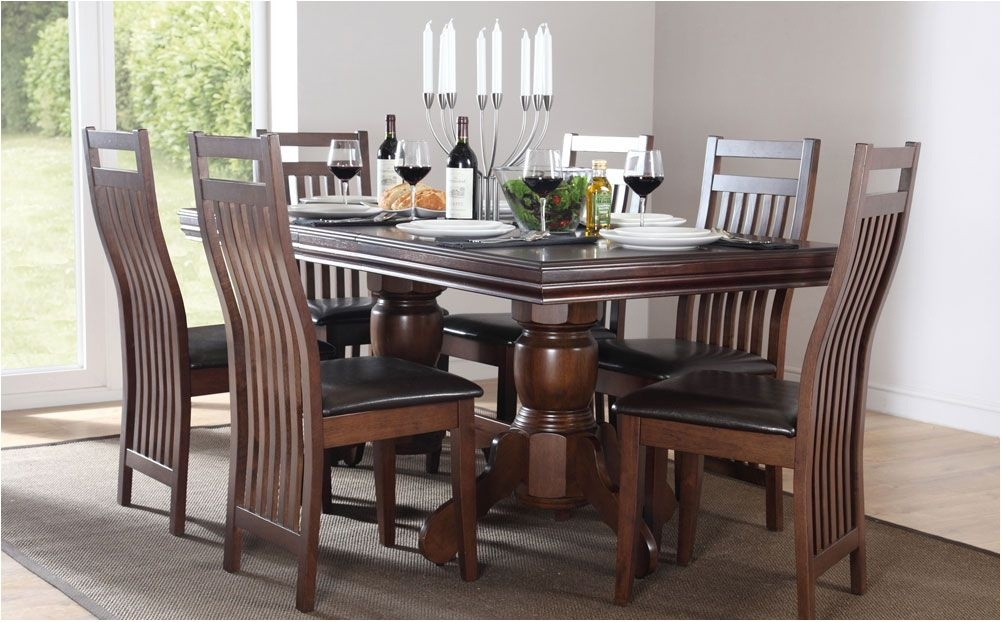 Astounding Extending Dining Table Chairs Extendable Dining Sets Intended For Dark Solid Wood Dining Tables (Image 3 of 25)