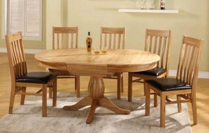 Astounding Round Oak Dining Table Set Royal County Four Seater Brown Intended For Round Extending Oak Dining Tables And Chairs (Image 1 of 25)