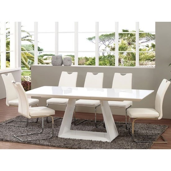 Astrik Extendable Dining Table In White High Gloss With 6 With White Dining Tables With 6 Chairs (Image 3 of 25)