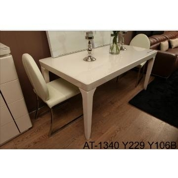 At 1340, China Tempered Glass In Cream Color And Mdf Dining Table Inside Cream Gloss Dining Tables And Chairs (Image 2 of 25)