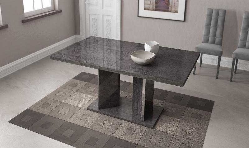 At Home Usa Sarah High Gloss Gray Birch Dining Table W/extension Within Birch Dining Tables (Image 2 of 25)