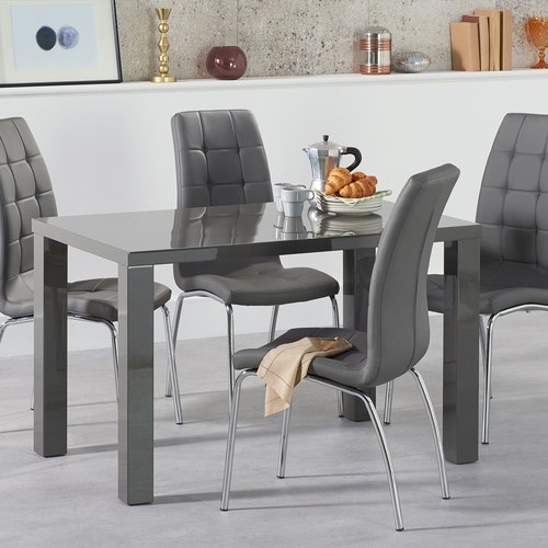 Atlanta 120Cm Dark Grey High Gloss Dining Table With Calgary Chairs Pertaining To Grey Gloss Dining Tables (Image 2 of 25)
