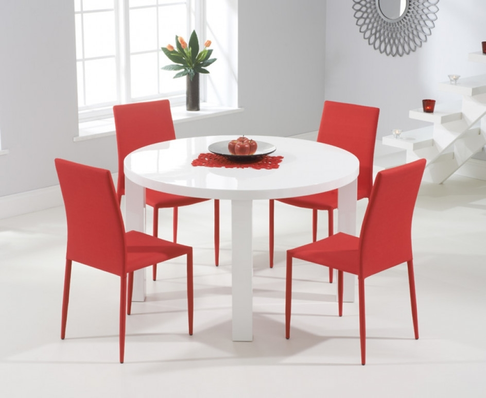 Atlanta 120Cm Round White High Gloss Dining Table With Atlanta Regarding Red Gloss Dining Tables (Image 2 of 25)