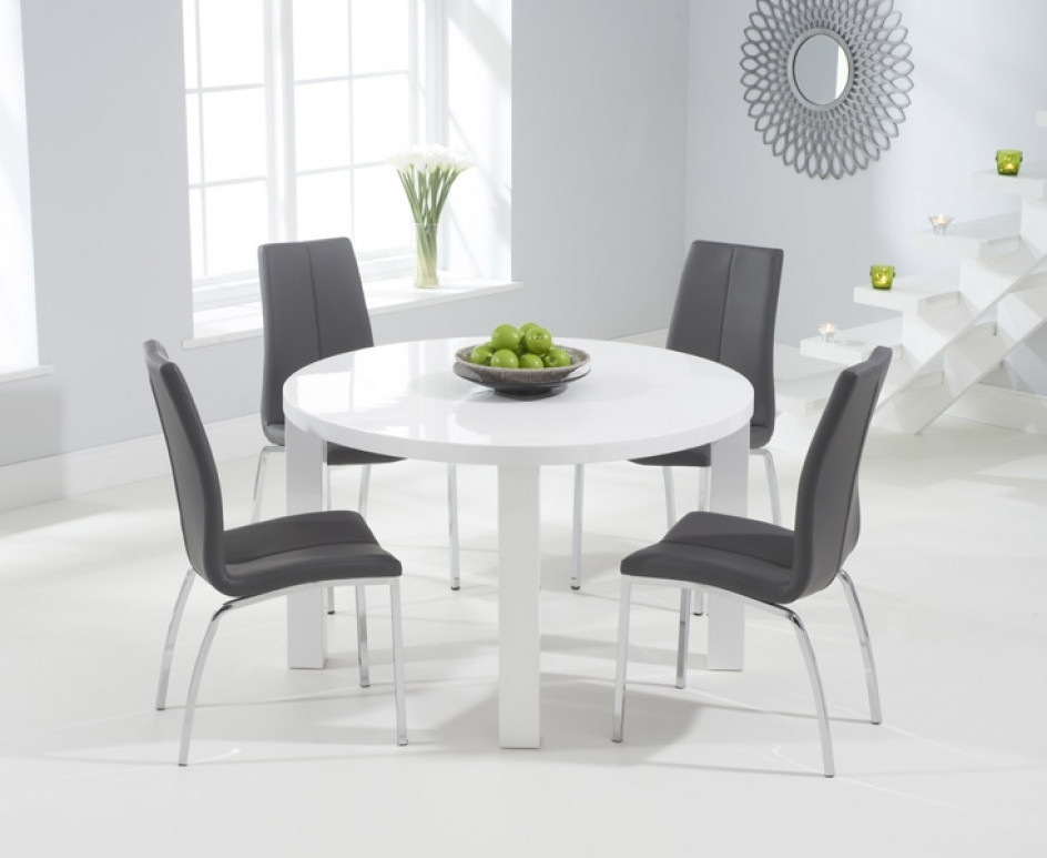 Atlanta 120Cm Round White High Gloss Dining Table With Cavello With Regard To White Gloss Dining Tables 120Cm (Image 2 of 25)