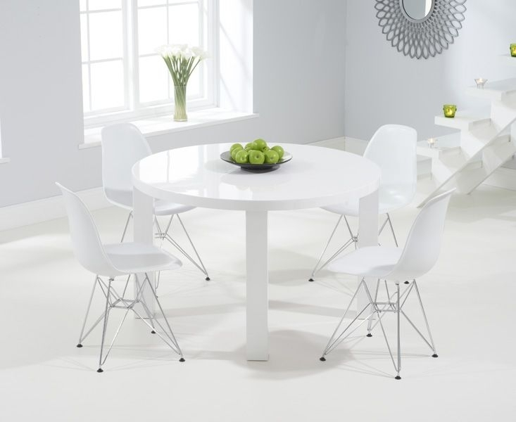 Atlanta 120Cm Round White High Gloss Dining Table With Charles Eames Regarding Round High Gloss Dining Tables (Image 2 of 25)