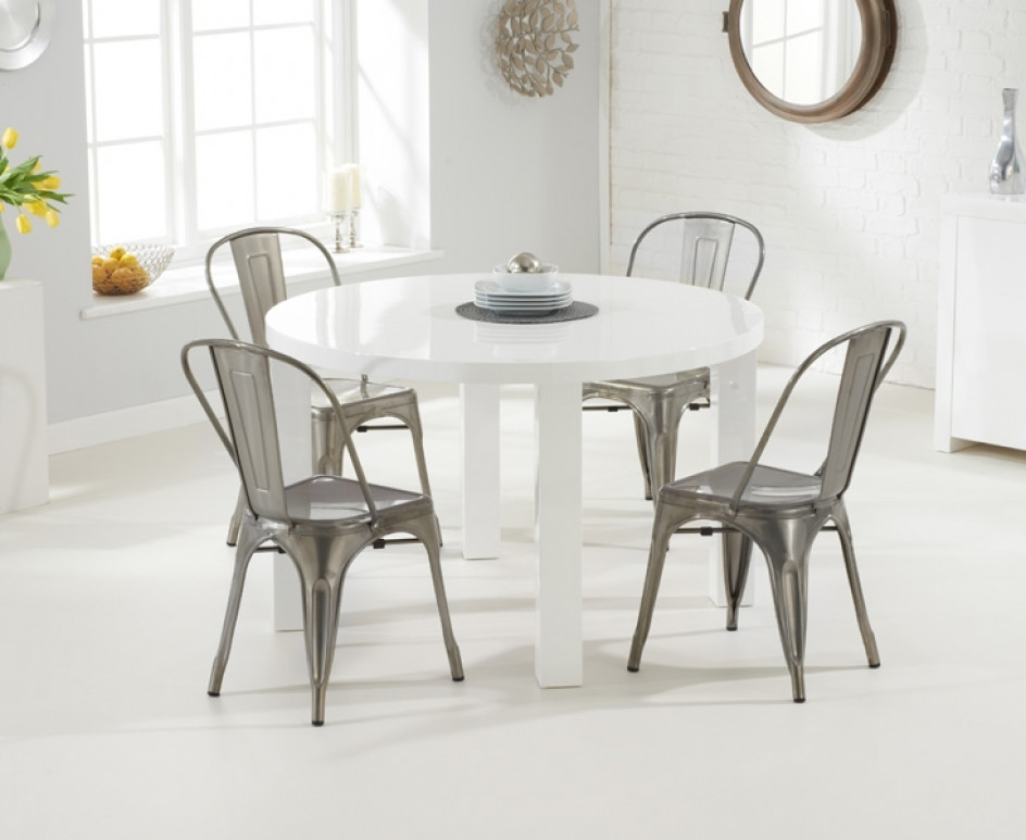 Atlanta 120Cm Round White High Gloss Dining Table With Tolix Pertaining To Round High Gloss Dining Tables (Image 3 of 25)