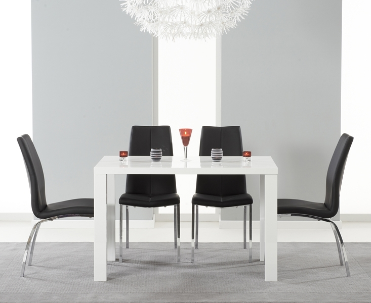 Atlanta 120Cm White High Gloss Dining Table With Cavello Chairs Regarding White Gloss Dining Tables 120Cm (Image 4 of 25)