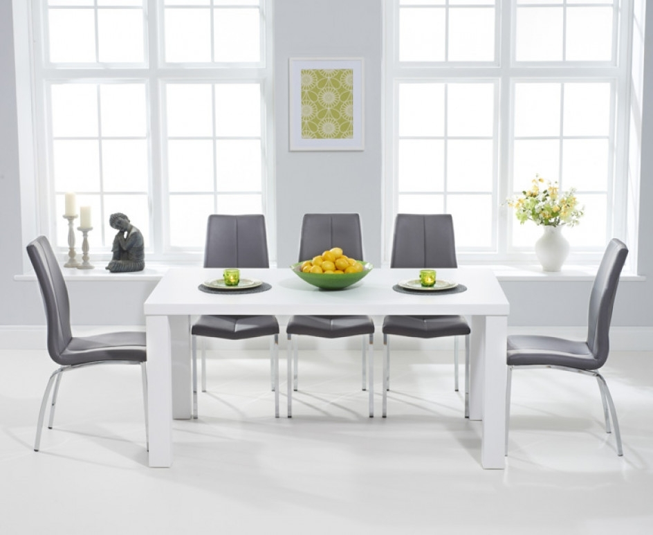 Atlanta 180Cm White High Gloss Dining Table With Cavello Chairs Intended For High Gloss Dining Tables (View 2 of 25)