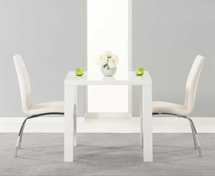 Atlanta 80Cm White High Gloss Dining Table With Cavello Chairs Pertaining To Black High Gloss Dining Tables And Chairs (Image 1 of 25)