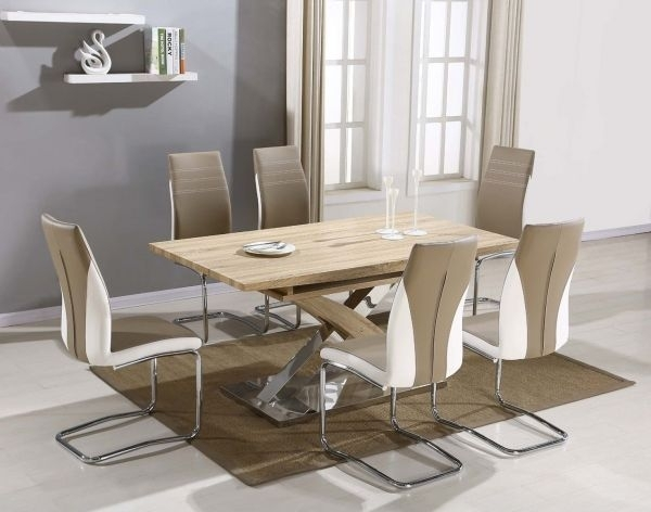 Atlanta Beige Wooden Chrome Dining Table And 6 Dining Chairs Set With Chrome Dining Room Sets (Image 2 of 25)