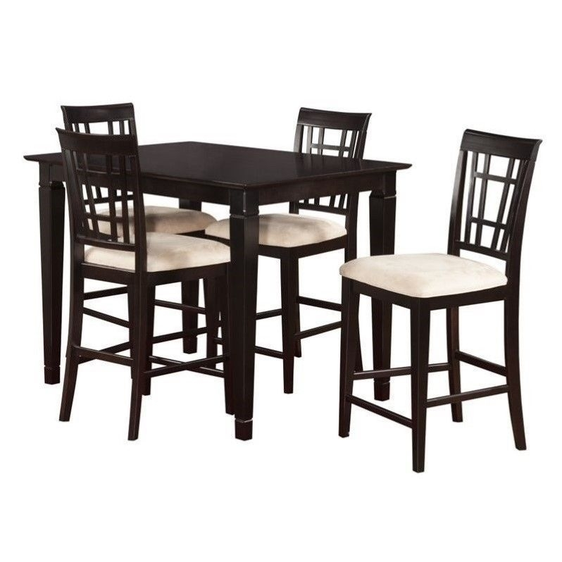 Atlantic Furniture Montego Bay 5 Piece Pub Set In Espresso | High For Rocco 9 Piece Extension Counter Sets (View 3 of 25)