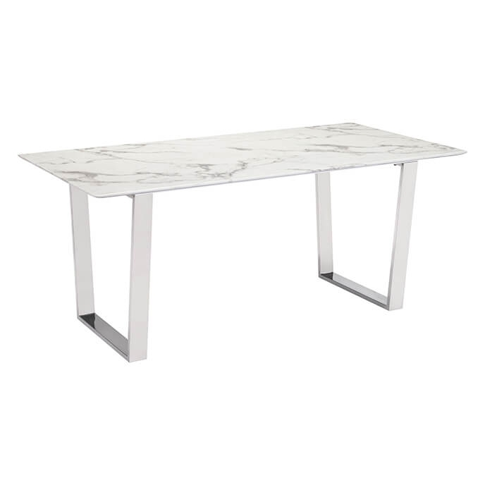 Atlas Modern Dining Table Stone & Brushed Stainless Steel Regarding Brushed Steel Dining Tables (Image 2 of 25)