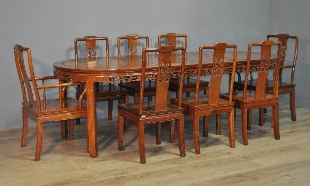 Attractive Large Oriental Carved Extending Dining Table & 8 Chairs Pertaining To Extending Dining Tables And 8 Chairs (Image 3 of 25)