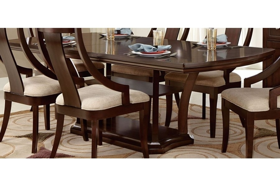 Aubriella Rectangular Pedestal Dining Table W/ Extension Leaf Throughout Caira Extension Pedestal Dining Tables (View 9 of 25)
