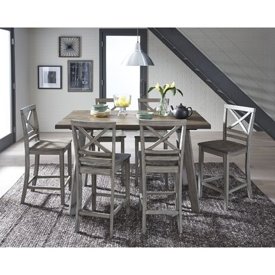 August Grove Crum 7 Piece Counter Height Wood Dining Set In 2018 With Regard To Market 7 Piece Counter Sets (Image 3 of 25)