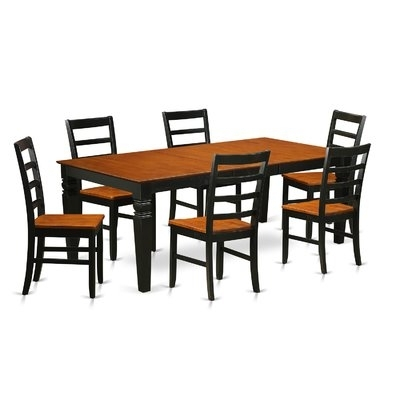 August Grove Pillar 7 Piece Wood Dining Set | Wayfair In Chandler 7 Piece Extension Dining Sets With Wood Side Chairs (View 24 of 25)