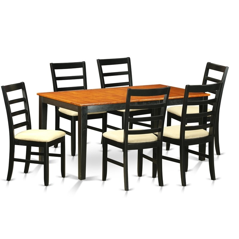 August Grove Pillar 7 Piece Wood Dining Set | Wayfair Throughout Chandler 7 Piece Extension Dining Sets With Wood Side Chairs (View 4 of 25)