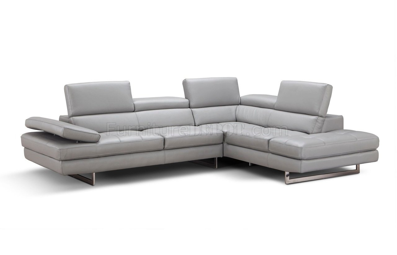 Aurora Sectional Sofa In Light Grey Premium Leatherj&m With Aurora 2 Piece Sectionals (View 8 of 25)
