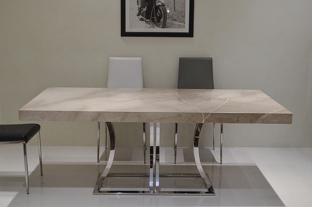 Aurora Steel Marble Dining Tablestone International With Stone Dining Tables (View 19 of 25)
