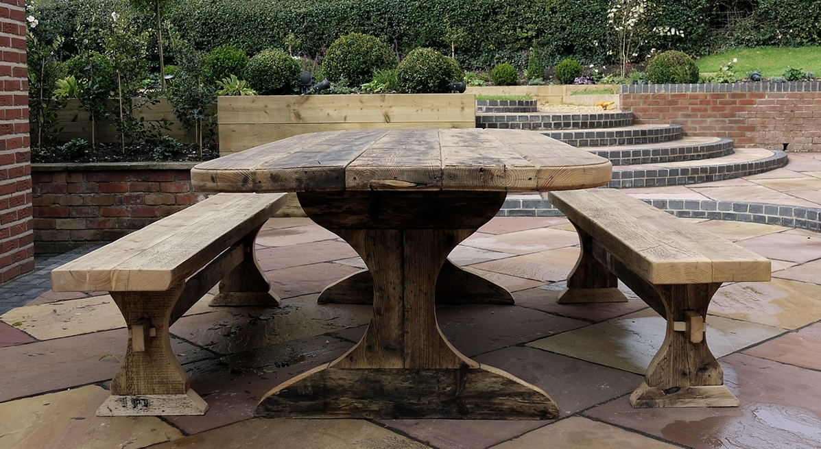 Austins Of Hanbury | Garden Dining Table And Bench Set Within Garden Dining Tables (View 4 of 25)