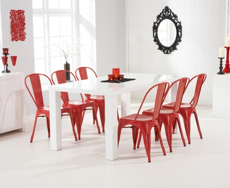 Ava 180Cm White High Gloss Dining Table + 6 Red Metal Chairs [255094 Within Red Gloss Dining Tables (Image 3 of 25)