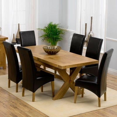 Avalon Solid Oak 160Cm Extending Dining Table With 6 Rome Chairs With Regard To Roma Dining Tables (Photo 3 of 25)