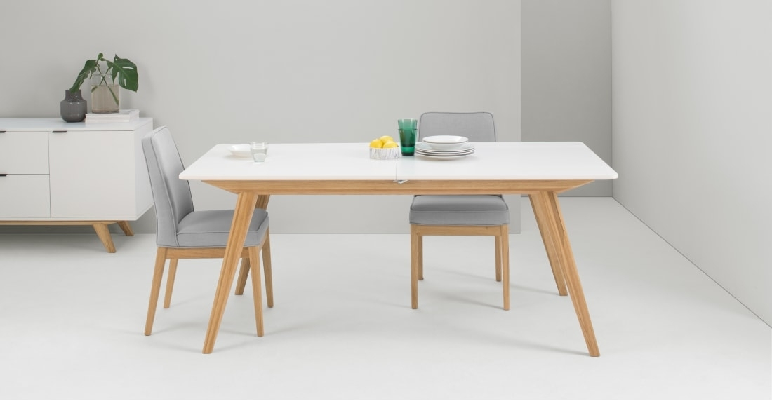Aveiro Extending Dining Table, Natural Oak And White | Made Inside Extending Dining Room Tables And Chairs (View 15 of 25)