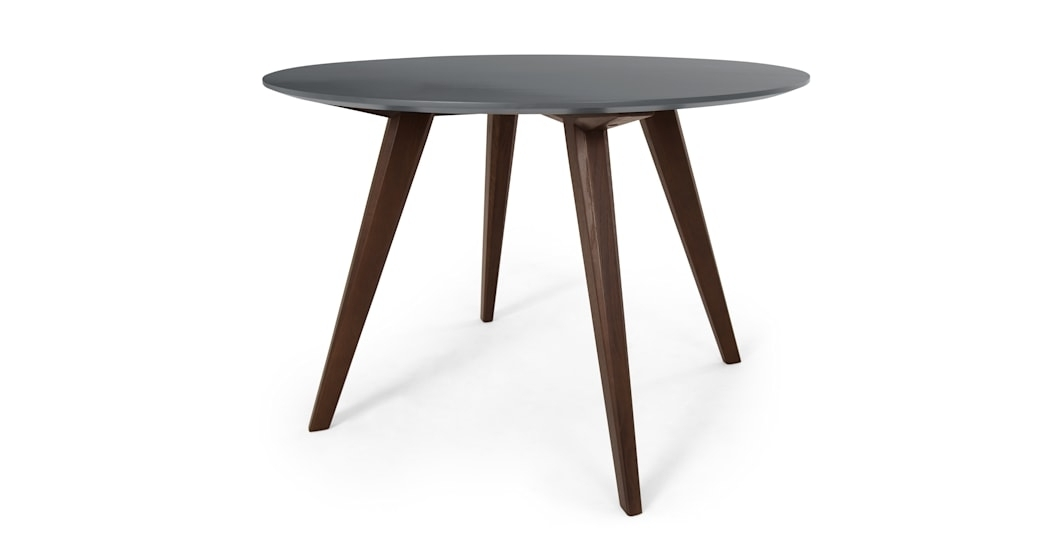 Aveiro Round Dining Table, Dark Stain Oak And Grey | Made In Dark Dining Tables (Image 1 of 25)