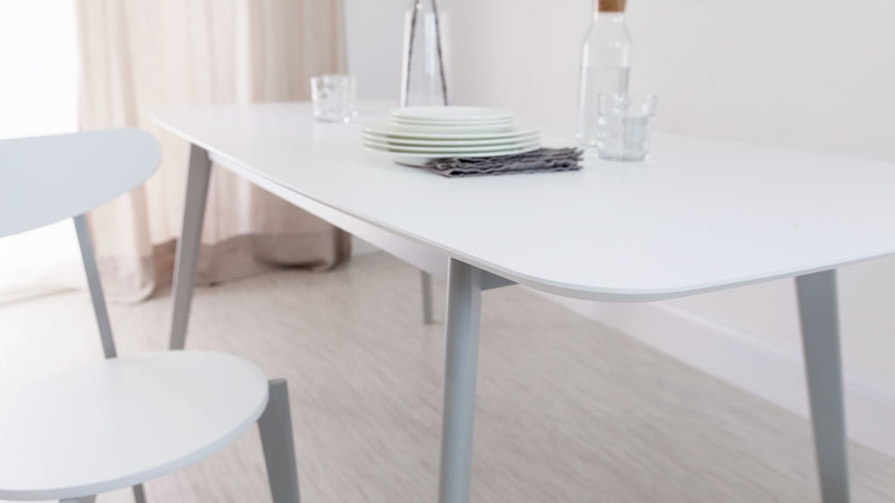 Aver Grey & White Extending Dining Table And Eames Chairs Pertaining To Extendable Dining Sets (Image 1 of 25)