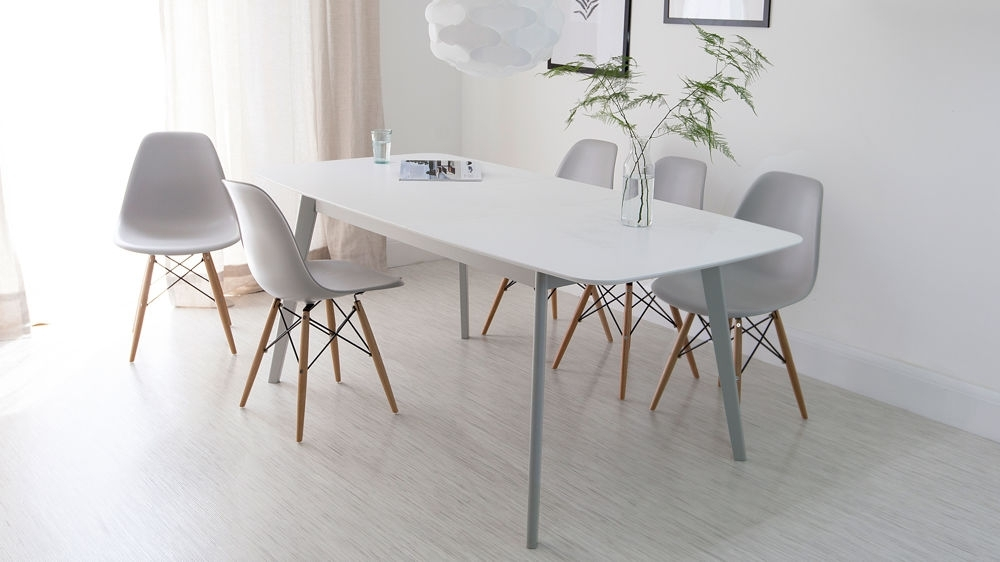 Aver Grey & White Extending Dining Table And Eames Chairs Throughout Dining Tables Grey Chairs (Image 1 of 25)