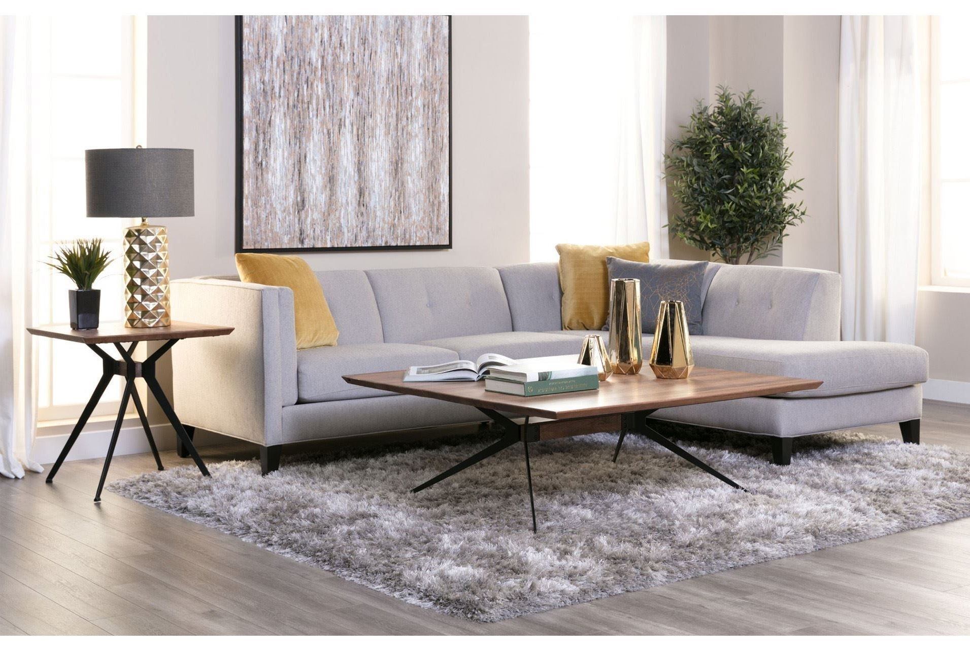 Avery 2 Piece Sectional W/raf Armless Chaise, Grey, Sofas | Mid Pertaining To Aquarius Light Grey 2 Piece Sectionals With Raf Chaise (Image 9 of 25)