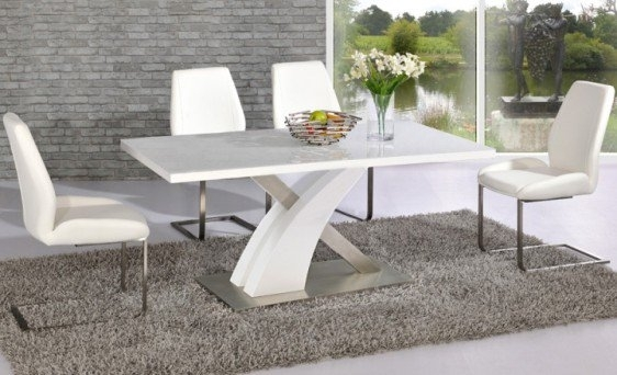 Avici Y Shaped High Gloss White And Chrome Dining Table 6 Within White Gloss Dining Room Furniture (Image 4 of 25)
