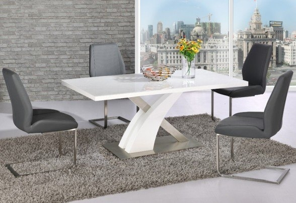 Avici Y Shaped High Gloss White Dining Table And 4 Dining With White High Gloss Dining Chairs (Image 1 of 25)