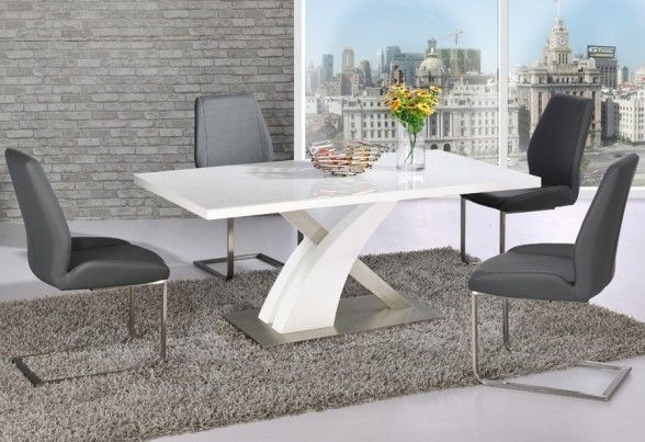 Avici Y Shaped High Gloss White Dining Table And 6 Dining Chairs With Regard To High Gloss White Dining Tables And Chairs (Image 4 of 25)