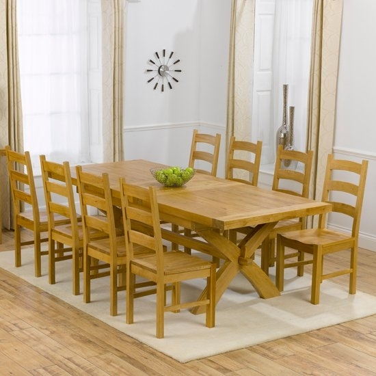 Avignon Oak Extending Dining Table And 8 Hannover Timber For Dining Tables For  (Image 11 of 25)