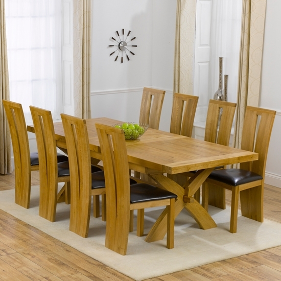 Avignon Solid Oak Extending Dining Table And 8 Arizona Walnut Dining With 8 Seater Dining Tables And Chairs (View 5 of 25)