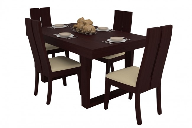 Avila Mahogany Dining Table Set 4 Seater (Teak Wood) – Adona Adona Woods Within Mahogany Dining Table Sets (Image 6 of 25)