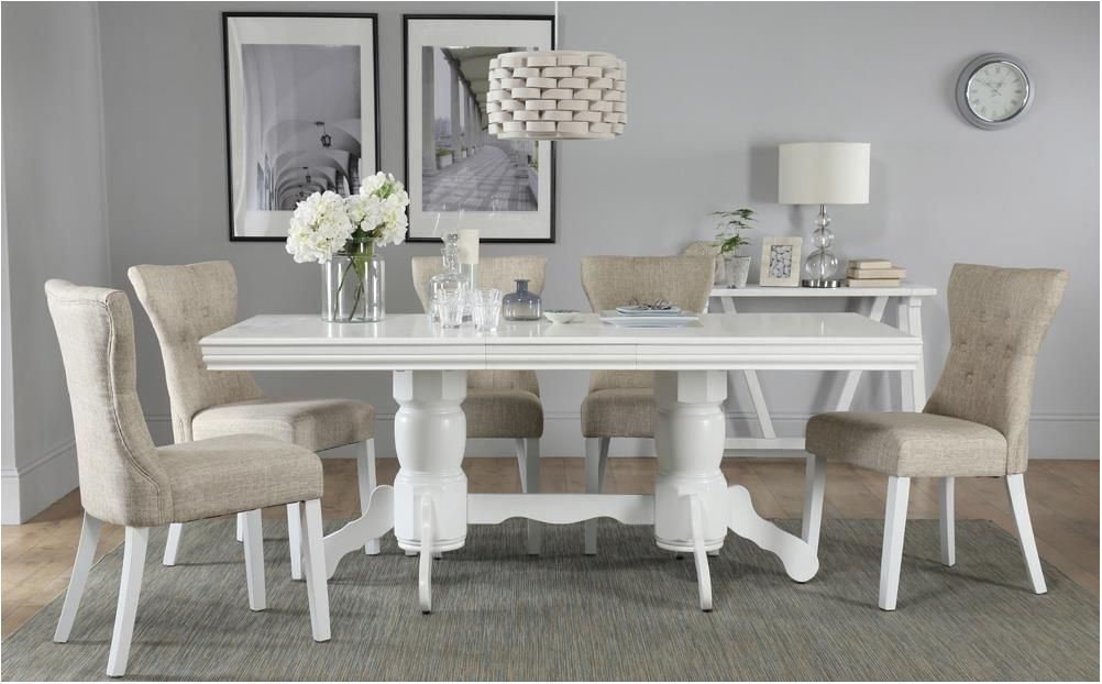 Awesome Chatsworth White Extending Dining Table With 4 Oatmeal Intended For White Extending Dining Tables And Chairs (Image 4 of 25)